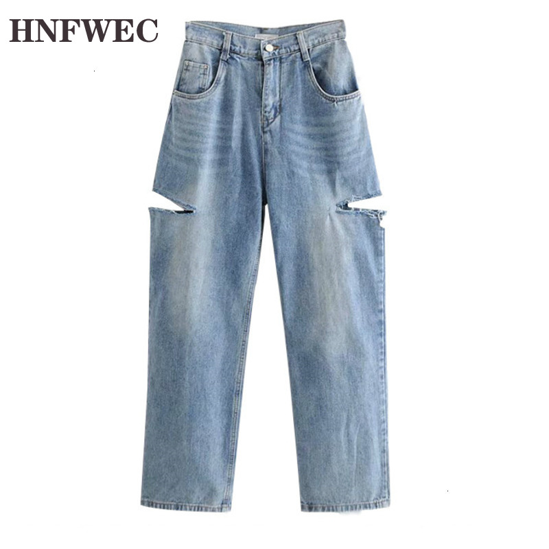 2020 Autumn And Winter New  Fashion Retro Solid Color Hole Loose Temperament Wide Leg Jeans Women D214