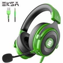 Gaming headset gamer eksa e900 pro 7.1 surround wired fones de ouvido pc usb/3.5mm fones de ouvido para ps4 xbox com cancelamento de ruído mic