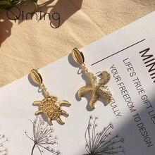 Vintage Gold Geometric Conch Earring For Women Irregular Statement Jewelry Beach Fashion Cowrie Brincos 2019