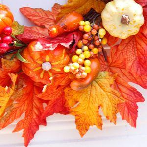 Image 3 - Pompoen Maple Leaf Krans Kunstmatige Bloemenkrans Herfst Oogst Thanksgiving Halloween Decoratie