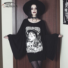 Imily Bela Gothic Long Sleeve Dress Women Casual Long Sleeve Flare Sleeve Loose Skull Print Mini Dress Black O-neck Vestidos цены