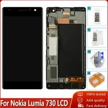 OLED الأصلي لنوكيا Lumia 730 RM 1038 شاشة LCD تعمل باللمس مع الإطار محول الأرقام استبدال الجمعية 100% اختبارها