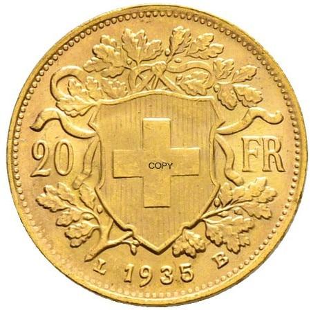 Латунная металлическая копировальная монета Швейцарской Конфедерации, золото, 20 франков, 1935 фунтов