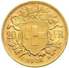 Suíça confederação ouro 20 francos 1935 lb latão metal cópia moeda