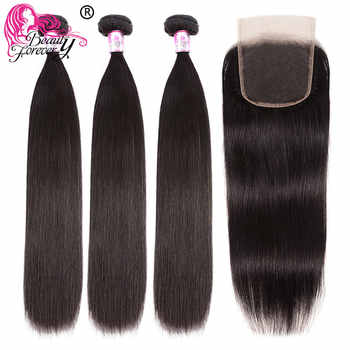 Beauty Forever Brazilian Hair Straight Bundles With Closure Medium Brown/Transparent Lace 4x4 5x5 Closure with Bundles Remy - DISCOUNT ITEM  35% OFF All Category