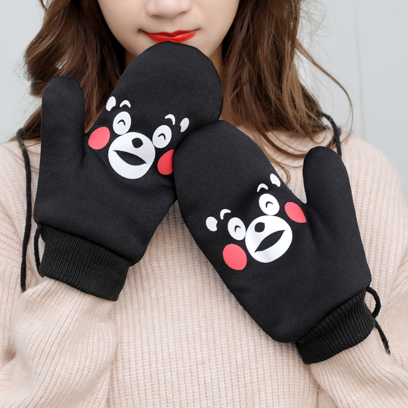 Fashion Lovely Student Winter Thick Warm Cartoon Duck Bear Gloves Cute Fingerless Women Solid Gloves Guantes
