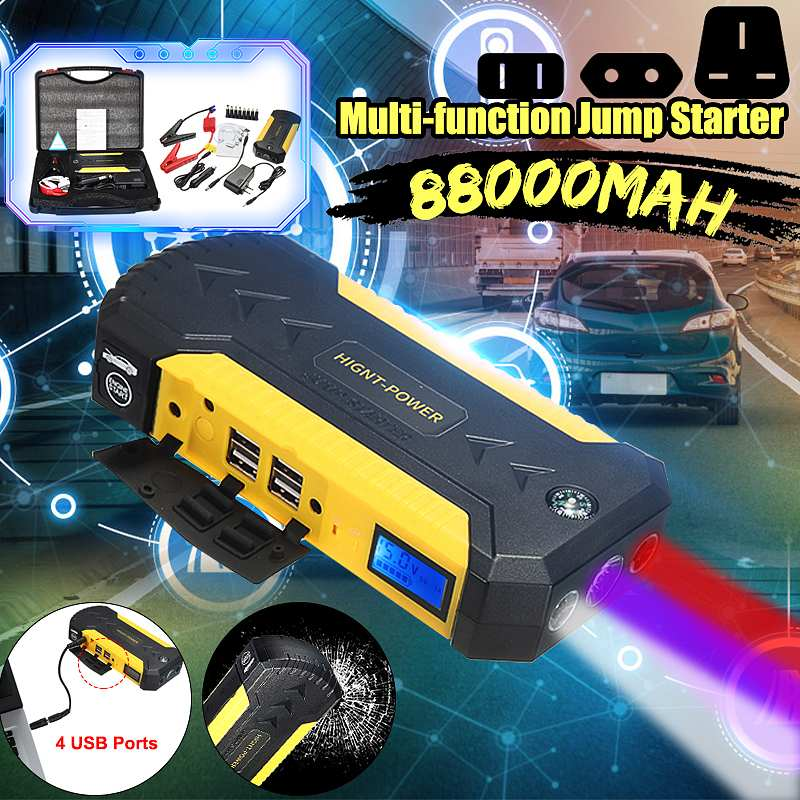 88000mAh Car Emergency Starting Device 12v 600A Portable Car Jump Starter Power Bank Battery Booster With USB Charger Led Light