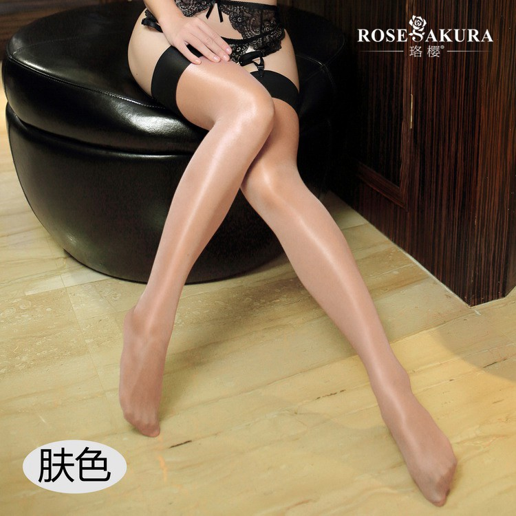 <font><b>Sexy</b></font> Thigh High <font><b>Socks</b></font> Stripe Oil Shiny Long Stockings See Through Glossy Stocking <font><b>Cute</b></font> Lingerie Transparent Kneesocks Overknee image