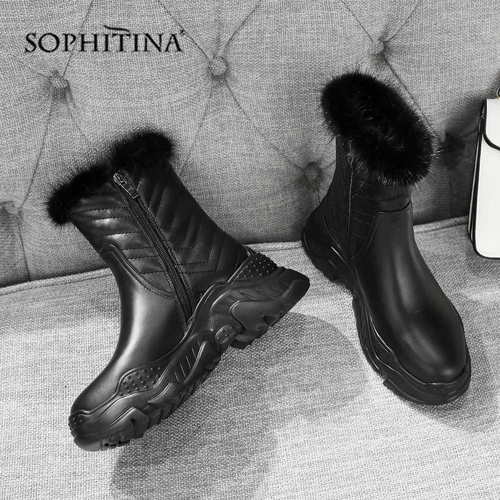 SOPHITINA moda tasarım botları yüksek kalite hakiki deri rahat yuvarlak ayak yeni ayakkabı sıcak ayak bileği bayan botları MO373