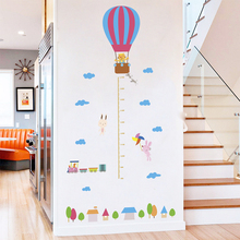 Hot Air Balloon Rabbit Train Growth Chart Wall Stickers For Kids Room Home Decor Cartoon Height Measure PVC DIY Mural Decal