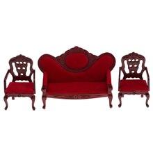 Vintage 1/12 sofá de terciopelo en miniatura, conjunto de silla para muñecas, casa, jardín, patio, parque, cualquier habitación, muebles de decoración