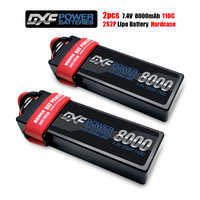 DXF 2PCS 2S 7.4V 8000mAh 110C Max220C Lipo Battery RC Parts with T plug Comfortable for TRXX 1/10 Car Drone Helicopter Boat FPV