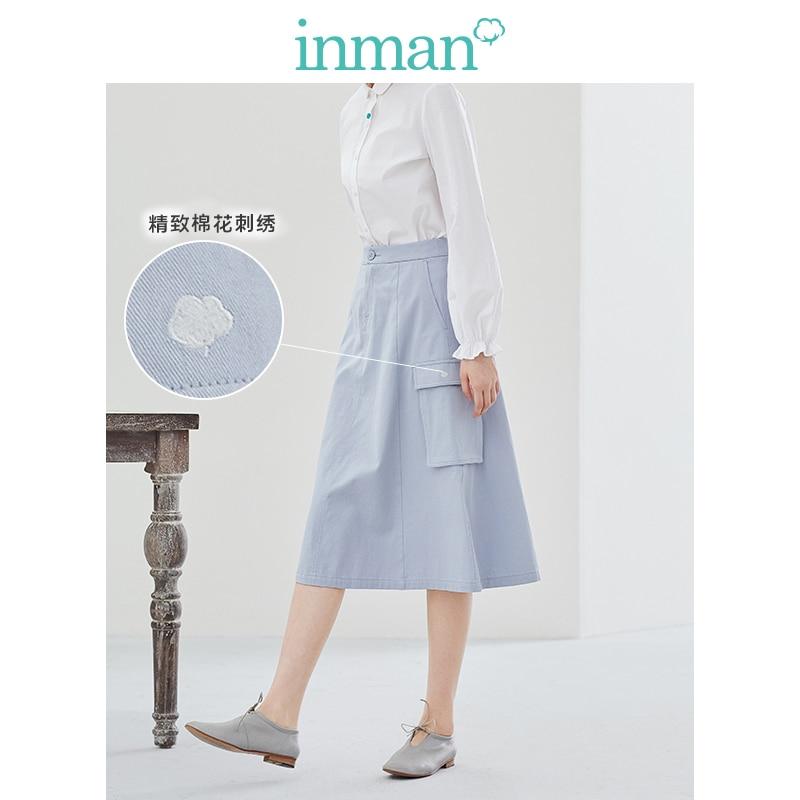 INMAN 2020 Spring New Arrival Plain Cotton Series Xinjiang Cotton Literary Loose Slimmed High Waist A-line Skirt