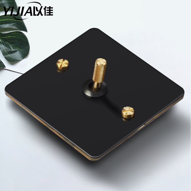 Brass Wall Switch Vintage Retro Toggle Switch 220V Dimmer Switch 1gang-4gang 2way 10A Wallpad Switch For Livingroom Brass Lever