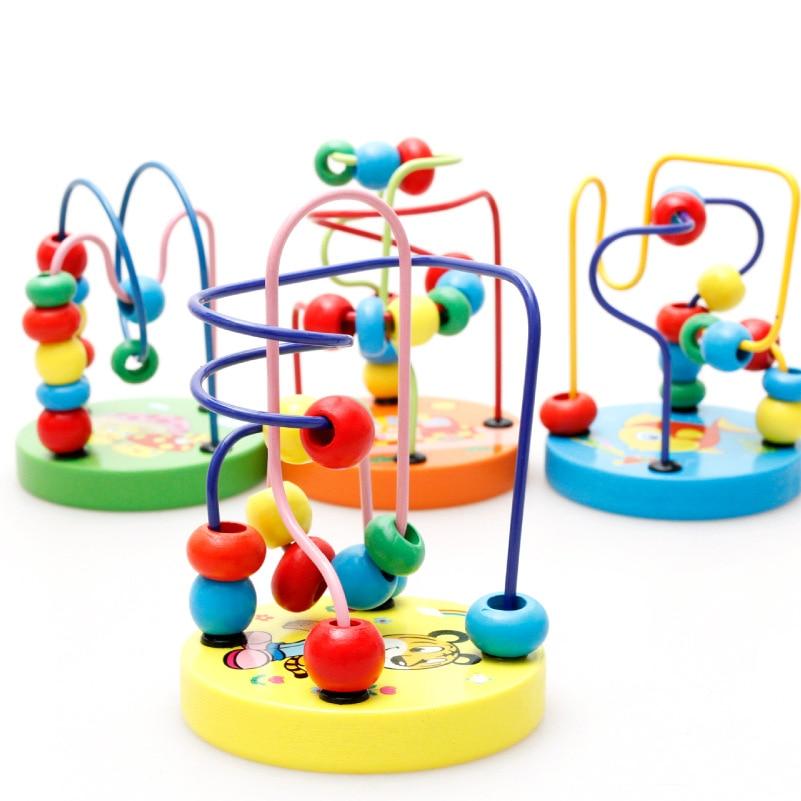 Children Wisdom Small Round Cartoon Bead-stringing Toy Beaded Bracelet Wooden Building Blocks Men And Women Baby Educational Toy