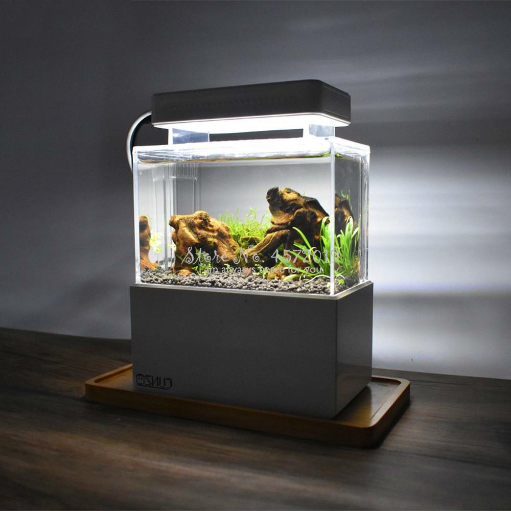 Upgraded Mini Plastic Fish Tank LED Light Desktop Aquarium Fish Bowl With Water Filtration Quiet Air Pump Mini Aquarium