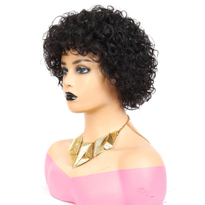 Image 4 - Short Pixie Wig Bouncy Curl Human Hair Wig 6inch 8inch Summer Sale No Lace Closure Wig Natural Color For Women Free Shipping