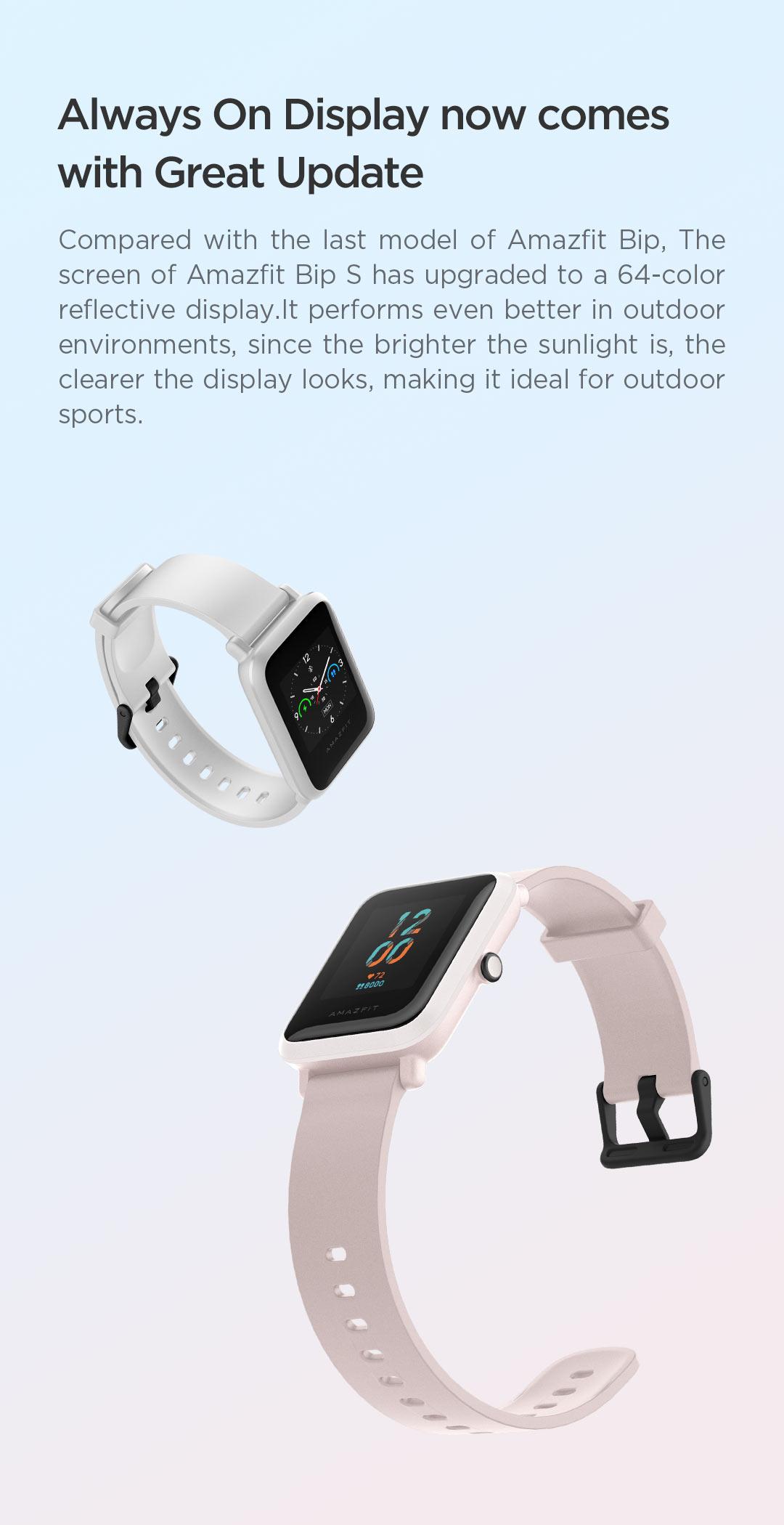 H923e00348c54429ea0e38b151fbd5726M In Stock 2020 Global Amazfit Bip S Smartwatch 5ATM waterproof built in GPS GLONASS Smart Watch for Android iOS Phone