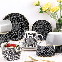 Geometric patterns Ceramic Salad Bowl Europen Style Noodle Container For salad soup Bowl Ceramica Set Kitchen Tool Tableware|Bowls|Home & Garden -