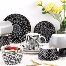 Geometric patterns Ceramic Salad Bowl Europen Style Noodle Container For salad soup Bowl Ceramica Set Kitchen Tool Tableware round white black ceramic salad bowl gold japanese style noodle container for soup rice bowl ceramica set kitchen tool tableware