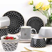 Motivi geometrici di Ceramica Ciotola di Insalata di Stile di Europen Noodle Contenitore Per insalata ciotola di minestra Ciotola di Ceramica Set Utensili Da Cucina Stoviglie