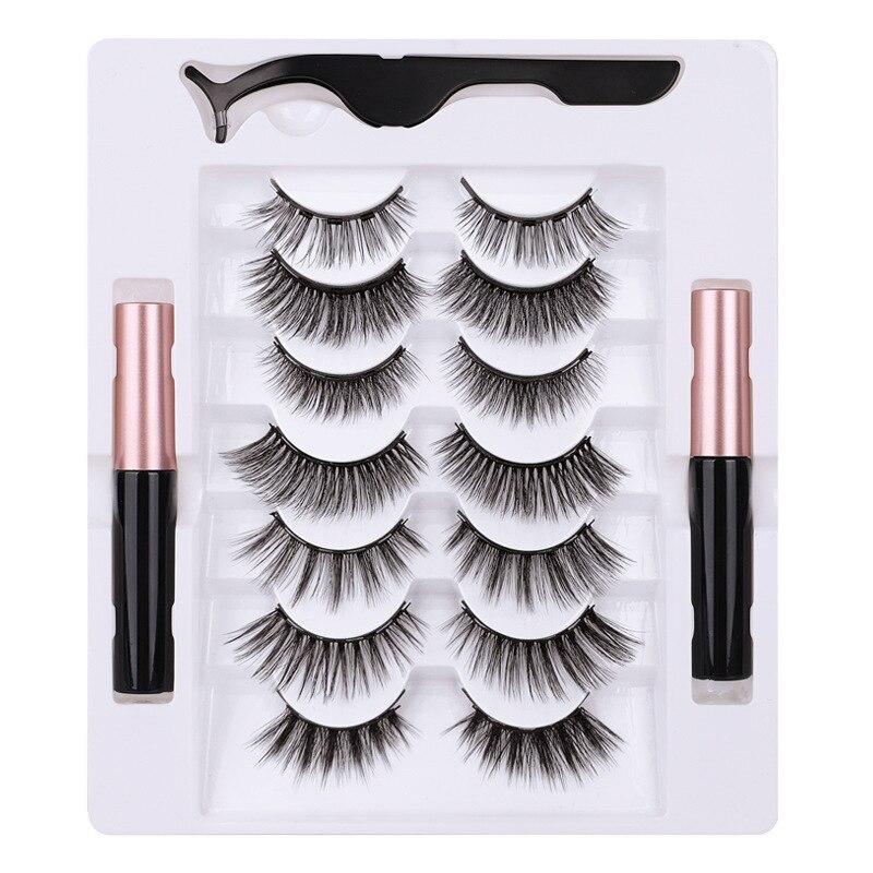7 Pairs Eye Lashes Magnetic Eyelashes and Eyeliner Set False Eyelashes Magnet Extension Liquid Eyeliner & Tweezer Set Waterproof 5