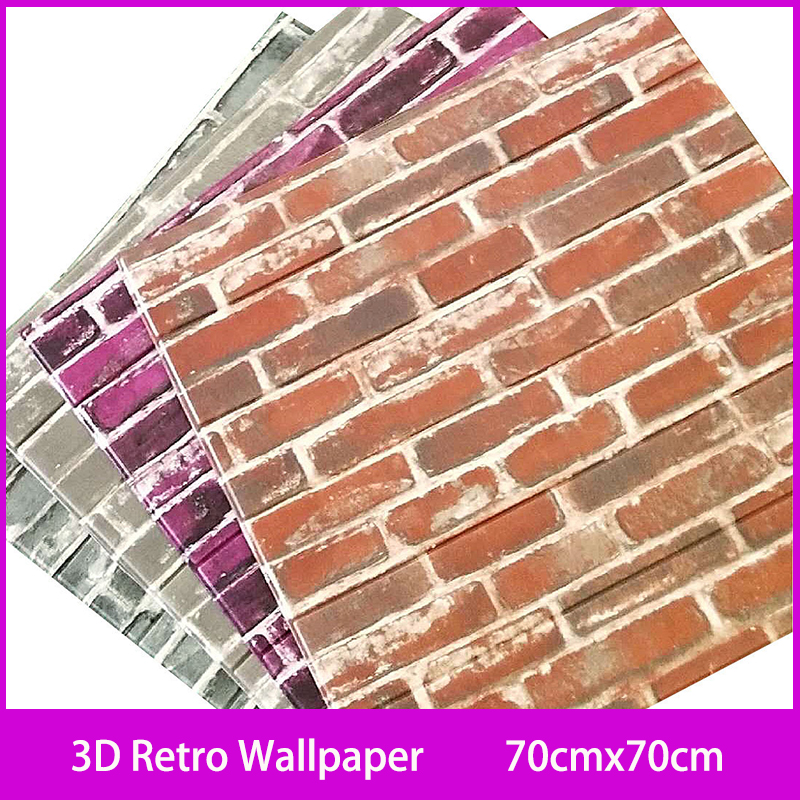 3D Stickers Retro Simulated Brick For Living Room Bedroom DIY Wall Decor Self Adhesive Waterproof Wall Covering Wallpaper