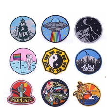 Pulaqi Outdoor Sports Patch Stripes Embroidered Iron On Patches For Clothes Punk Applique For Jacket Clothes Badge Accessories F big punk skull patch iron biker morale wings back patch badge large embroidery patches for clothes jacket jeans applique nl210