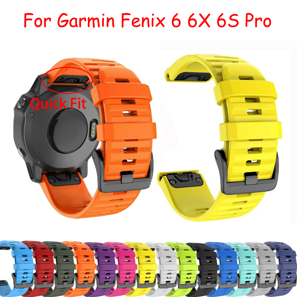 Colorful 20/22/26mm Strap Quick Release Silicone Easyfit Replacement Silicagel Soft BandStrap For Garmin Fenix 6 6X 6S Pro Watch