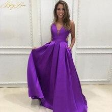 Berylove New Sexy Purple Evening Dress 2019 Elegant Satin Gown Long Formal Abiye Prom Party vestido longo festa