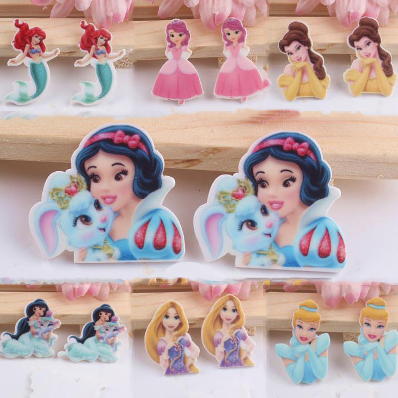 10 Pcs Kawaii Acrylic Snow White Princess Planar Resin Cabochons Accessories For Kids Hot Sale Princess Party Decoration