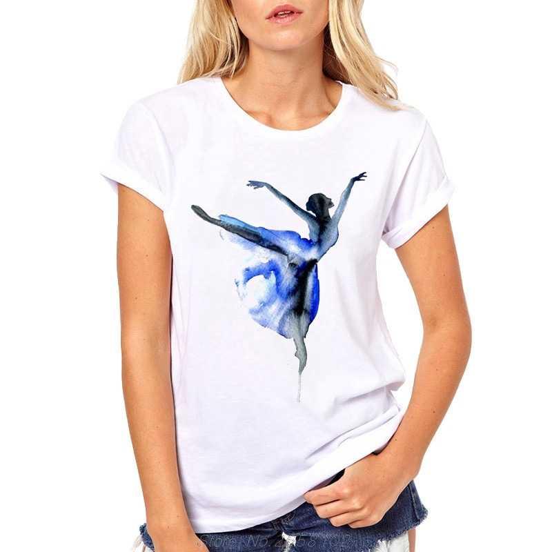 Vendita calda Tee Aqua Ballerina T Delle Donne Della Camicia di Estate Magliette Femminile Causale T-Shirt Abbigliamento Manica Corta Balletto Magliette e camicette Per La Ragazza