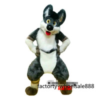 Festival Special Outdoor Event Outfit Grey Dog Fox Mascot Costume Adult Animal Cosplay Costume Long Fur Suit Hallween Xmas Suit