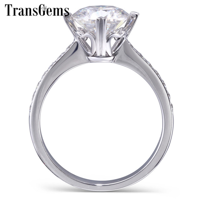 Transgems 18K AU750 White Gold Main 2ct 8mm F Colorless Moissanite with Accents Heart Shape Prongs Gold Ring Band Width 3mm