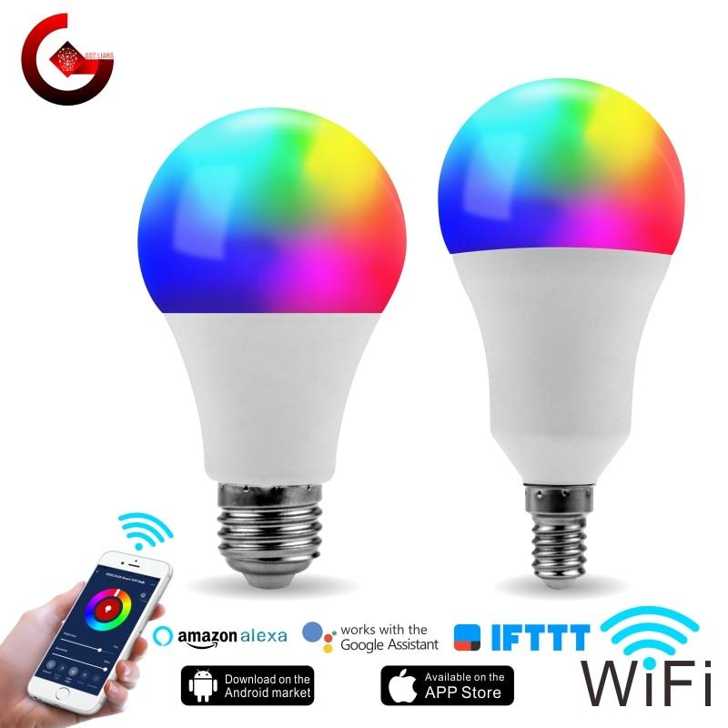 LED RGB WIFI Bulb E27 B22 E14 E26 Smart Light Bulb RGB+White 15W 85-265V Dimmable WIFI Lamp Alexa Google Assistant IFTTT Control