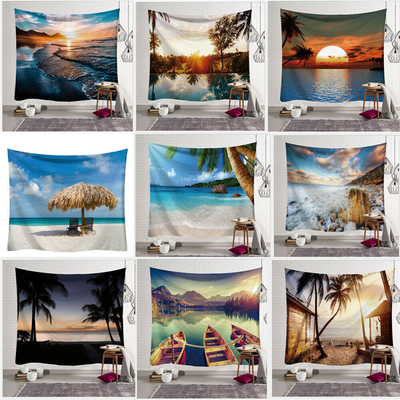 Art Natural Views Tapestry Great Sea Sunset Print Tapestry Room Wall Hanging Fashion Tapestry Living Room Home Decor