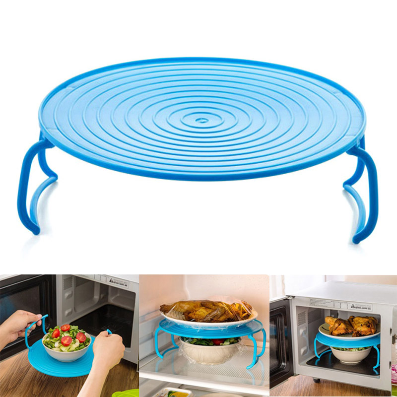 4 In 1 Microwave Plastic Stand Shelf Mini Heating Food Tray Cooling Rack Multifunction Kitchen Tool GQ