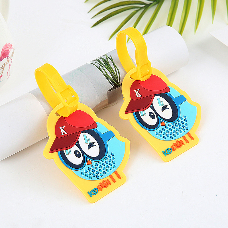 Bird Owl Travel Accessories Cartoon Silicone Gel LuggageTag Suitcase ID Address Holder Boarding Tag Portable Label