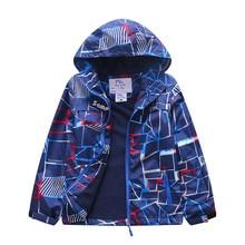 Hooded Waterproof Child Coat Kids Outfits Baby Girls Boys Jackets Printed Polar Fleece Children Outerwear For 110-150cm цены
