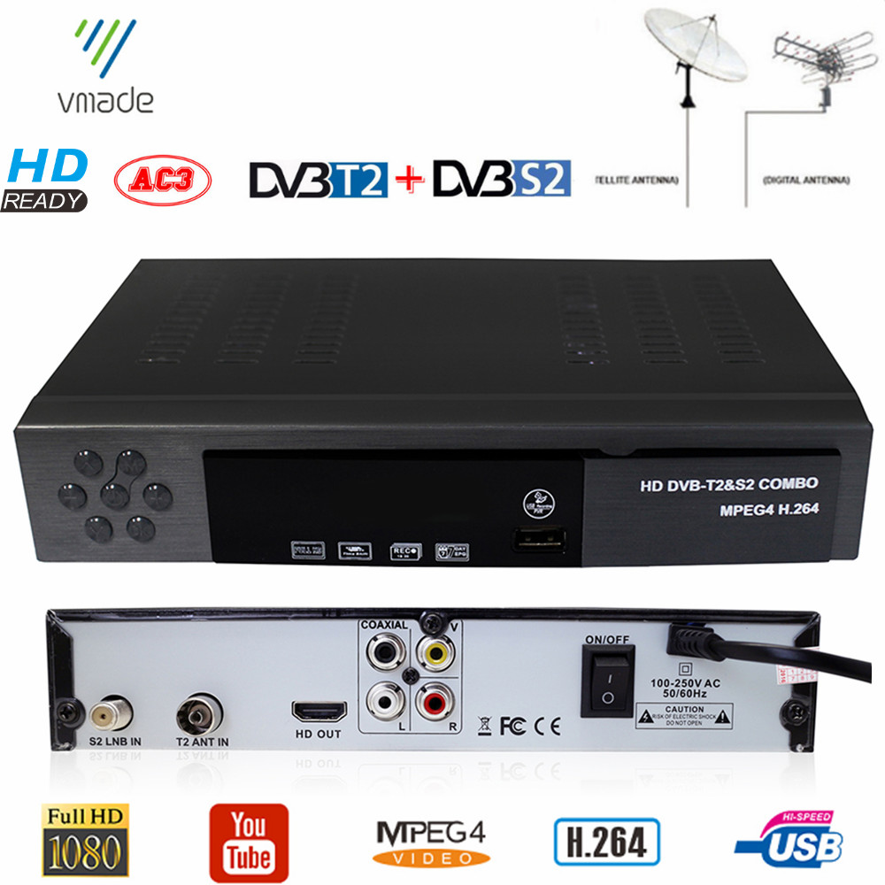 DVB-T2 DVB-S2 HD Digital Terrestrial Satellite TV Receiver Combo DVB S2 H.264 MPEG-4 TV Tuner Support CCCAM Bisskey Set Top Box