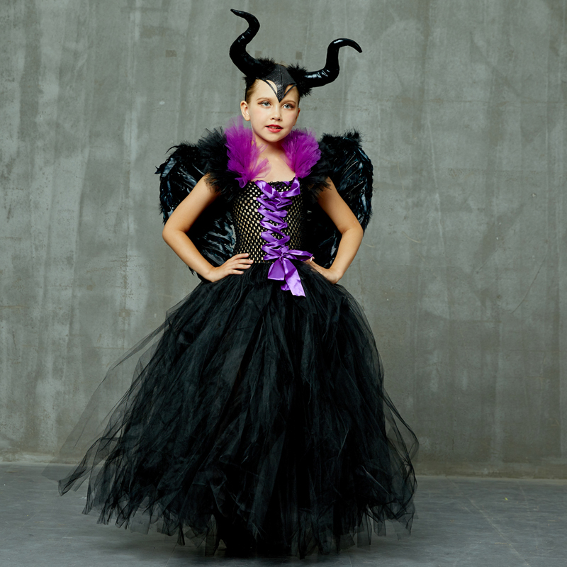 H923eefc1756f4f48bcb599c7c76aafcbp Maleficent Black Gown Tutu Dress with Deluxe Horns and Wings Girls Villain Fancy Dress Kids Halloween Cosplay Witch Costume