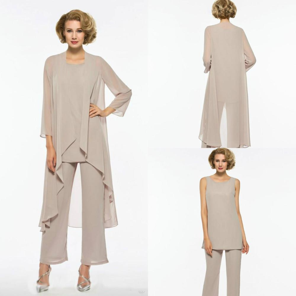 Plus Size Mother Of The Bride Pant Suit 3 Piece Chiffon For Beach Wedding Dress Mother's Dress Long Sleeves Mothers Formal Gowns
