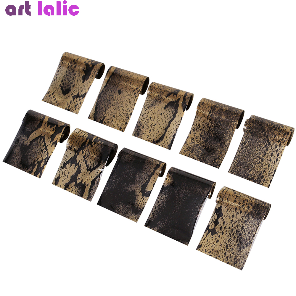 10 Pcs Snake Veins <font><b>Nail</b></font> Foil Set 60*2.5cm Khaki Black Skin <font><b>Nail</b></font> Art Transfer <font><b>Sticker</b></font> Laser DIY Manicure <font><b>Sexy</b></font> Stylish Decals image
