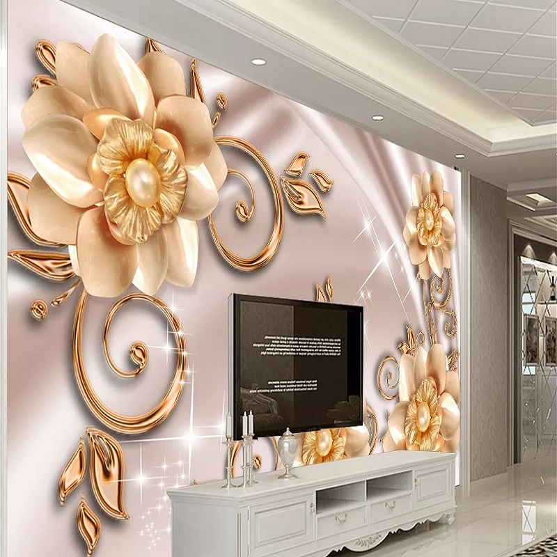 Custom Large Mural 3D Wallpaper Modern Fashion Creative Luxury Chinese Style Pearl Jewelry Golden Flowers Wall Decor 5D Embossed