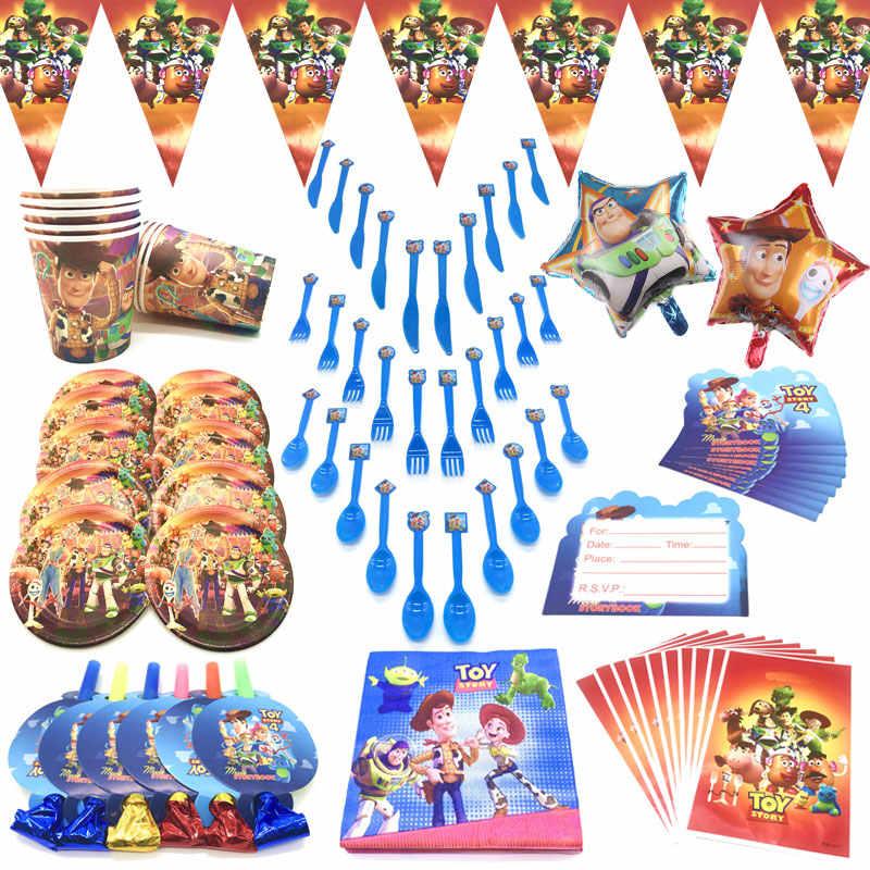أحدث قصة لعبة 4 لوازم حفلات الديكورات لوازم الطاولة/المائدة قابل للتصرف للأطفال الصبي حفلة عيد ميلاد لوازم ورقة كأس لوحة ديكور