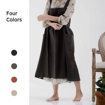 2020 Korean Style Cotton Linen Apron Dress Large Adjustable Buttons Shape Kitchen Cooking Clothes Aprons for Women Lady Chef geometric style hot sale high quality cotton waterproof women aprons adjustable sleeveless kitchen cooking aprons