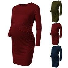 Женские платья для беременных с длинным рукавом и круглым рукавом, женская одежда для беременных