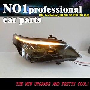 Автомобильные аксессуары для 5 серий E60 головной светильник s 2003-2007 для E60 светодиодный головной светильник ангельский глаз светодиодный DRL п...