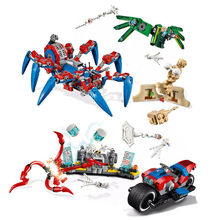 Marvel Avengers Super Heroes Spider-Man Bike Rescue Spider-Man's Spider Crawler boy Building Blocks Bricks Toys Compatible With(China)