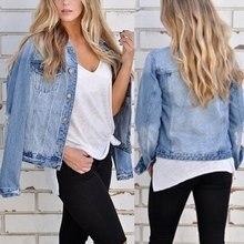 OEAK 2019 Autumn New Trendy Women Denim Jacket Retro Long Sleeve Jeans Chaqueta Mujer Button Up Coat Streetwear Jaqueta Top